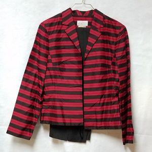 Vtg Black Red Striped Silk Jacket Pants Suit Set